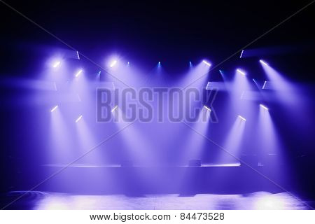 Spot Lights On A Empty Stage