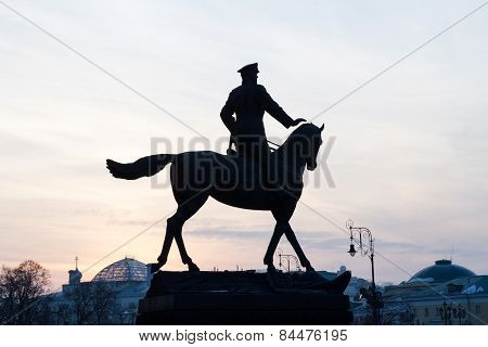 Silhouette Commander Georgy Zhukov Monument .
