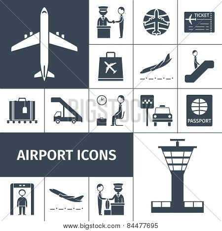Airport Icons Black Set