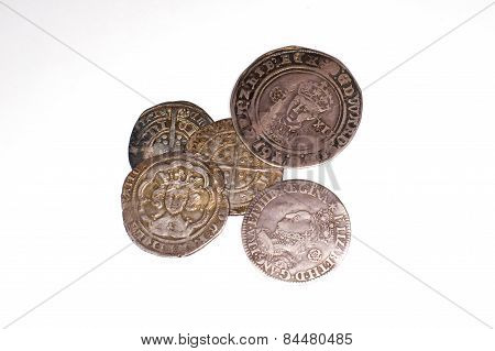 Antique England And  Franch Silver Coins On White Background