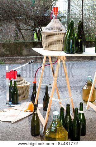 Pour The Wine In The Home With Glass Bottles