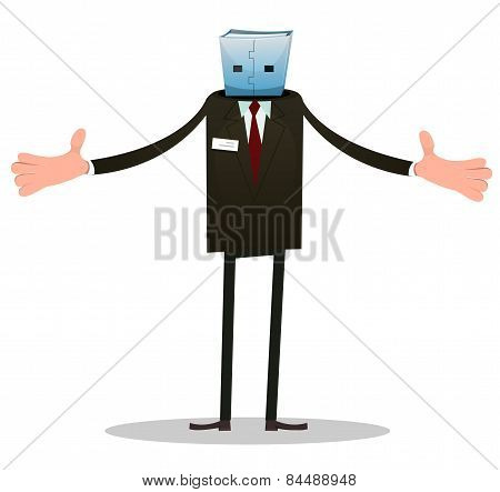 Illustration of a cartoon funny headless usb man character politician or businessman robot poster