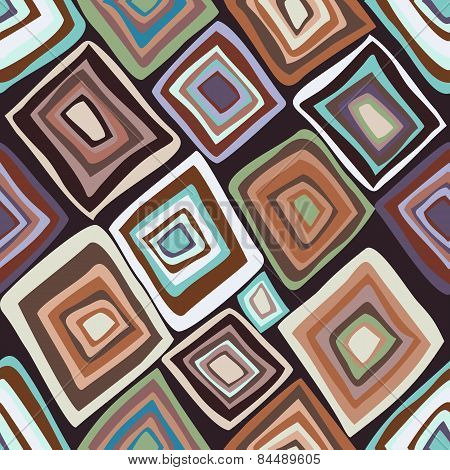 Vector Seamless Pattern With Multicolored Diamonds.