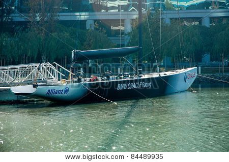 Redwood City, Ca, Usa - Sept 24, 2008: Bmw Oracle Racing Yacht Moored On Lake Near Oracle Headquarte