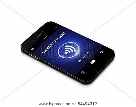 Mobile Phone With Contactless Payment Isolated Over White Background