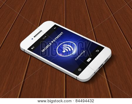Mobile Phone With Mobile Payment Lying On Wooden Table