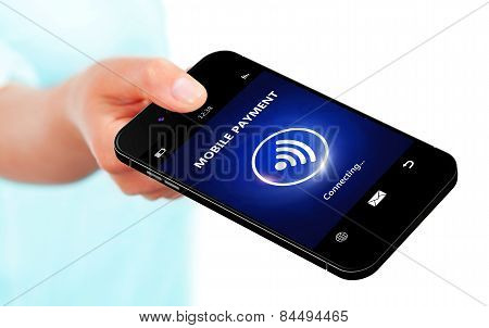 Hand Holding Mobile Phone With Mobile Payment Isolated Over White