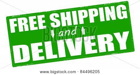 Stamp with text free shipping and delivery inside vector illustration poster