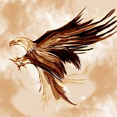 Flying eagle Graphics drawn and painted using brush tool with some filter effects poster