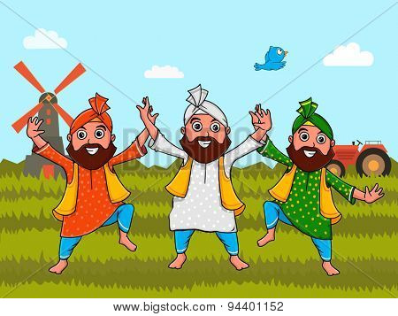 Punjabi men in national tricolor outfits, doing bhangra dance on nature background for Indian Independence Day celebration.