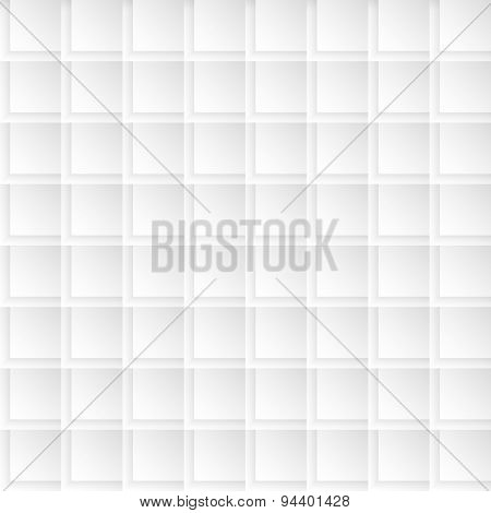 Seamlessly tiling background texture made of simple geometric squares with 3d shadow effects.