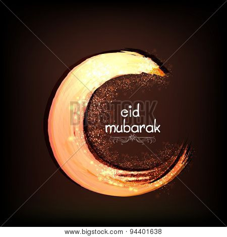 Beautiful creative crescent moon on brown background for holy festival of Muslim community, Eid Mubarak celebration.