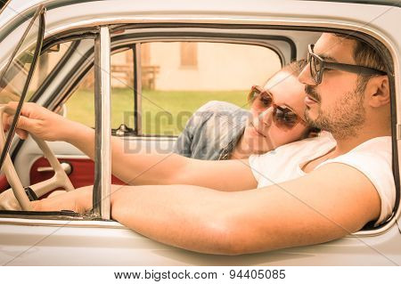 Couple In Love Having A Rest During Honeymoon Vintage Car Trip - Hipster Lifestyle Traveling Around