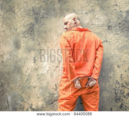 Handcuffed prisoner waiting for death penalty in jailhouse prison poster