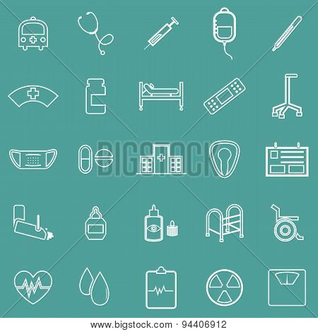 Hospital Line Icons On Green Background