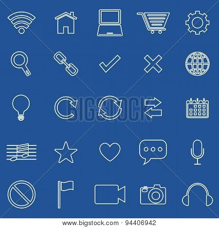 Web Line Icons On Blue Background