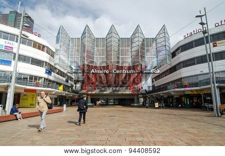 Almere, Netherlands - May 5, 2015: People Visit Almere Central Station