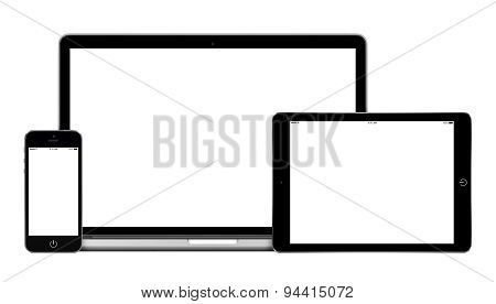 Laptop Tablet Pc Computer And Mobile Smartphone With Blank Screen Mockup