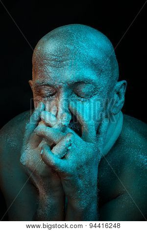 Bald Man Put His Hands To Face.