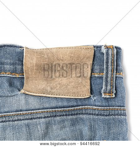 label on jean pants isolated on white background