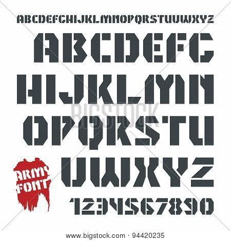 Stencil-plate Military Font And Numeral
