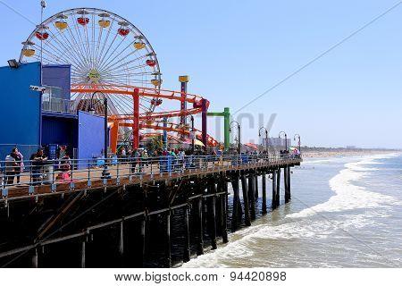 The Pier On Santa Monica Beach, California