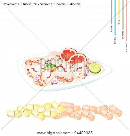 Thai Spicy Shrimp Salad With Vitamin B12, B3 And Vitamin C