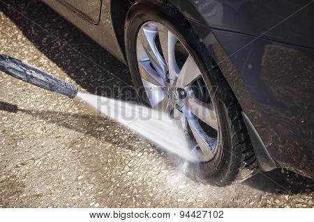 High pressure manual car washing outdoors. Hand wash poster