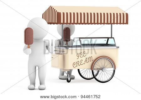 3D White Person With Ice Cream Near Ice Cream Cart