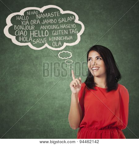 Female College Student Learning Multi Language