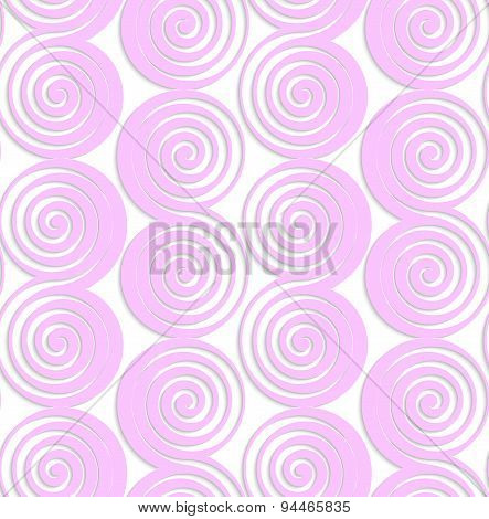 White Colored Paper Pink Spirals With Thickening