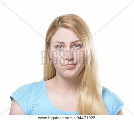 Portrait of a beautiful young blonde woman making pout poster