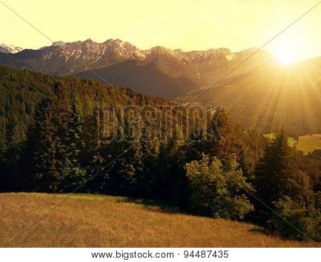 Beautiful mountain scenery at sunset, Bruneck, Italy Alps
