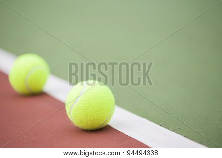 Tennis Court With Tennis Balls