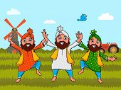 Punjabi men in national tricolor outfits, doing bhangra dance on nature background for Indian Independence Day celebration.  poster