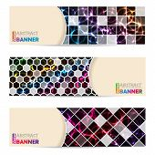Cool banner set of three with abstract laser plasma background poster