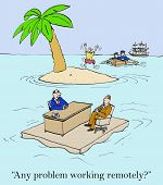 Business cartoon of remote worker eager to leave island while another worker is being interviewed for the remote work location job opening. poster