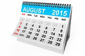 2015 year calendar. August calendar on a white background poster