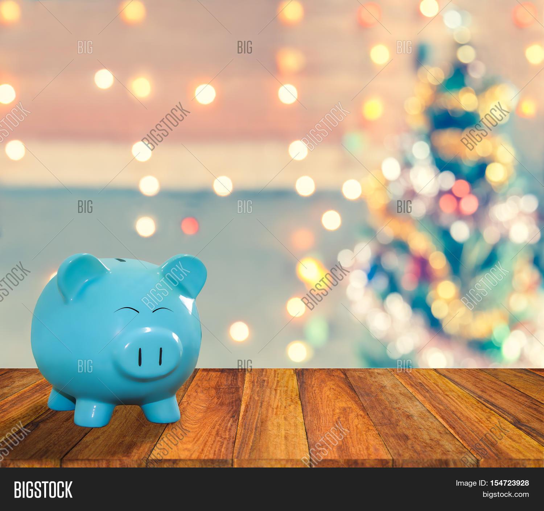 Blue Pig Bank On Wood Image & Photo (Free Trial) | Bigstock