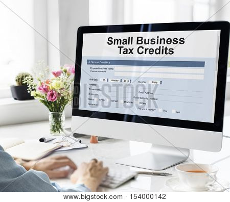 Samll Business Loan Form Tax Credits Niche Concept