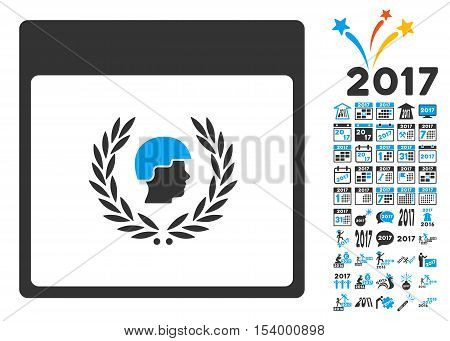 Soldier Laurel Wreath Calendar Page icon with bonus calendar and time management clip art. Glyph illustration style is flat iconic symbols, blue and gray colors, white background.