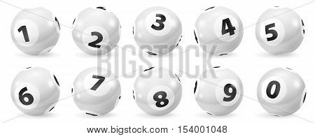 Lottery Number Balls. Black and white balls isolated. Bingo balls set. Bingo balls with numbers. Set of black and white balls. Lotto concept. White Bingo Balls.