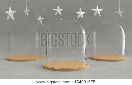 Glass dome with wooden tray on concrete background and hanging stars. New year theme. 3D rendering.