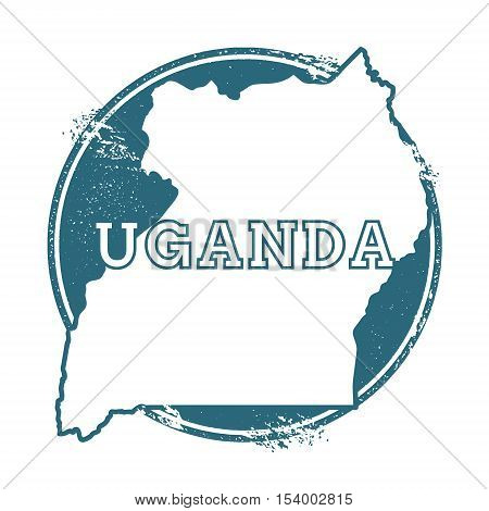 Grunge Rubber Stamp With Name And Map Of Uganda, Vector Illustration. Can Be Used As Insignia, Logot