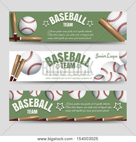 Sport horizontal banners template. Baseball team banners vector illustration