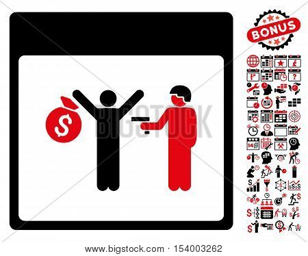 Arrest Calendar Page pictograph with bonus calendar and time management clip art. Glyph illustration style is flat iconic symbols intensive red and black white background.