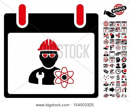 Atomic Engineer Calendar Day icon with bonus calendar and time management images. Glyph illustration style is flat iconic symbols, intensive red and black, white background.