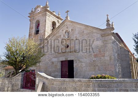 Facade of the pre-Romanesque Church of St Mary of Visitation (Santa Maria da Visitacao) in the village of Castro Laboreiro Northern Portugal