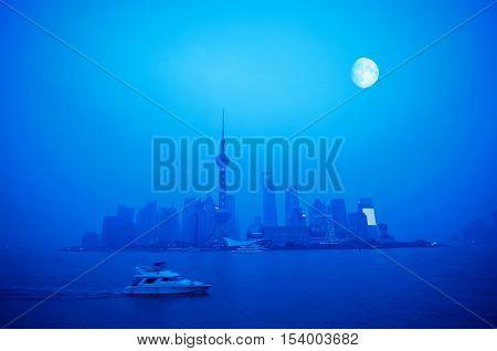 China Shanghai Pudong Lujiazui Financial District Horizon.