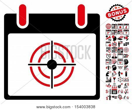 Bullseye Calendar Day pictograph with bonus calendar and time management clip art. Glyph illustration style is flat iconic symbols intensive red and black white background.